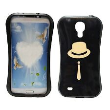 BLACK CASE WITH CREAM HAT AND TIE PRINT GEL HARDCASE FOR SAMSUNG GALAXY S4 i9500