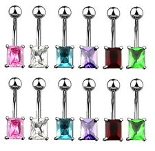 New Surgical Steel Rectangle Gem Belly Naval Bar 1.6mm Choice of Colour