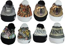 MENS DESIGNER BRANDED GRAPHIC PRINTED WINTER WOOLY BEANIE HATS IN 8 STYLES