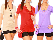 Womens Classic & Sexy Top Blouse Scoop Neck Welt Style T-Shirt Size 8 -12 3090