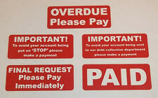 Accounts Stickers - Overdue - Final Request - Stop - Debt Collection - PAID
