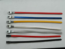 Lapize PAIR toe clips straps RED YELLOW BLUE WHITE coloured - Christophe bike