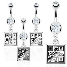 Surgical Stainless Steel Belly Bar With QR Code Sexy Hidden Message