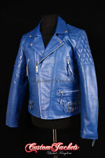 Men's 'HIGHWAY' Blue MOTORCYCLE Motorbike CRUISER Biker Cowhide Leather Jacket