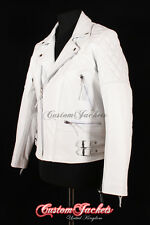 Men's HIGHWAY WHITE Motorcycle Motorbike CRUISER Biker Hide Leather Jacket