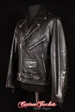 Men's BRANDO TASSELED Black Motorcycle Motorbike CRUISER Hide Leather Jacket MBF