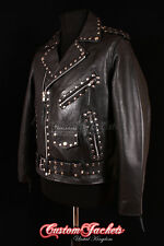 Men's BRANDO STUDS Black Motorcycle MOTORBIKE CRUISER Real Hide Leather Jacket