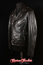 Men's BRANDO BLACK LAMBSKIN Motorcycle Motorbike Cruiser Real Leather Jacket