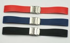 Mens Deployment Clasp Silicone Rubber Watch Strap 20mm Waterproof safety buckle
