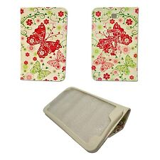 WHITE RED AND GREEN BUTTERFLY FLOWER PU LEATHER COVER SAMSUNG GALAXY TAB3 P3200