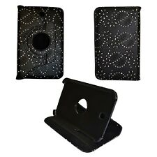 """BLACK BLING GLITTER 360ROTATING PULEATHER 7""""INCH COVER SAMSUNG GALAXY TAB3 P3200"""