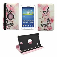 SAMSUNG GALAXY TAB 3 7 INCH RED FLOWER AND BUTTERFLY PRINT 360 ROTATING COVER