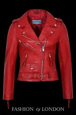 Ladies BRANDO Red Classic Motorcycle Motorbike Cruiser Hide Leather Jacket