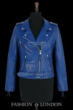 Ladies BRANDO Blue Classic Motorcycle Motorbike Cruiser Hide Leather Jacket