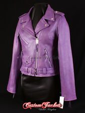 Ladies BRANDO Purple Classic Motorcycle Motorbike Cruiser Hide Leather Jacket