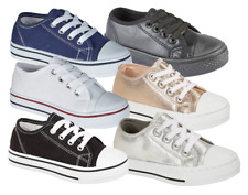 NEW BOYS GIRLS CHILDRENS KIDS FLAT CASUAL LACE UP PUMP PLIMSOLL CANVAS SHOES