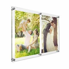 A4 Double Acrylic Photo Frame Perspex Wall Picture Holder Clear & Colour Display