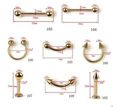 Eyebrow Earring Barbell Tragus Tongue Nipple Rook Anodized Gold Body Jewellery