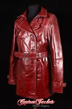 Ladies Cherry Red BURGUNDY Real Lambskin Leather TRENCH COAT Jacket Mac