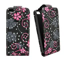 BLACK CASE PINK AND GREY FLOWER SWIRL GLITTER FLIP CASE FOR APPLE IPHONE 4/4S