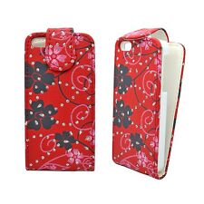 RED CASE PINK & BLACK FLOWER SWIRL GLITTER FLIP CASE FOR APPLE IPHONE 4/4S