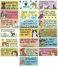 """CAT / DOG THEMED SIGN New Wall Hanging Plaque Funny *SENT 1ST CLASS"""" Ideal Gift"""