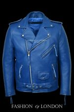 Men's 'BRANDO' Blue Cowhide Motorcycle Motorbike Cruiser Genuine Leather Jacket
