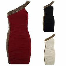 Women's Side Sequin One Shoulder Tape Gathered Party Ladies Short Bodycon Dress