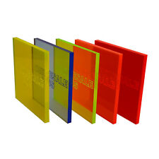 ACRYLIC PERSPEX FLUORESCENT PLASTIC SHEET 3MM THICK BLUE ORANGE YELLOW GREEN RED