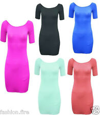 New Women Ladies Girls Off Shoulder Bodycon Midi Party Summer Dress UK Size 6-14
