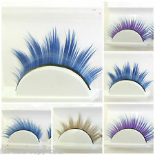 1 PAIR QUALITY DRAMATIC BROWN BLONDE BLUE PURPLE THICK FALSE FAKE EYE LASHES UK