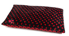 Pet Face Large Dog Bed Cushions Soft Cosy Warm Puppy Mattress Black & Red Hearts