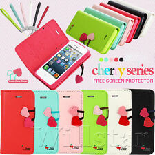 Cherry Magnetic Leather Stand Flip Wallet Card Case Cover For IPhone 4 4S 5 5S