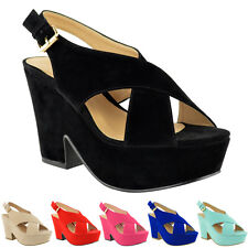 LADIES WOMENS HIGH MID HEEL PLATFORM FLATFORM WEDGES SHOES PEEP TOE SANDALS SIZE