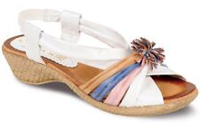 Ladies White Leather Small Textured Wedge Women's Casual Sandal Shoes