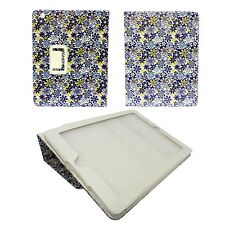BLANCO AZUL Y AMARILLO FLOR ESTAMPADO FUNDA CUERO DE PU PARA IPAD MINI APPLE