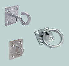 2 x Dog Animal Tether Tie Up Galvanised Eye / Ring / Hook On Plate Wall Mount