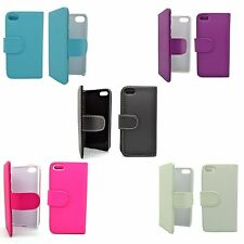 APPLE IPHONE 4/4S PLAIN BOOKFLIP PU LEATHER CASE SCREEN PROTECTOR VARIOUS COLORS