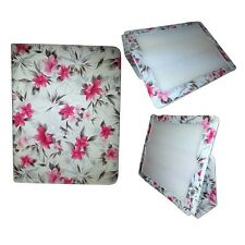 BLANCO Y ROSA FLORAL DISEÑO FUNDA CUERO DE PU FUNDA PARA IPAD MINI DE APPLE