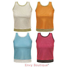 WOMENS LADIES CASUAL SPORT GYM MESH JOGGING JERSEY TANK SLEEVELESS T-SHIRT TOP