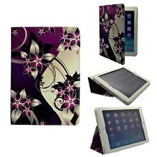 PURPLE AND CREAM FLOWER DESIGN PU LEATHER CASE FOR  APPLE IPAD AIR