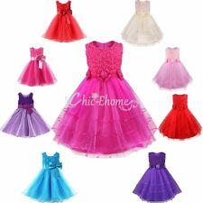 Baby Girl Rose Flower Princess Party Formal Christening Wedding Bridesmaid Dress