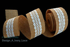 Rustic Natural Jute Burlap Hessian Ribbon inner Lace Trims Tape Wedding Favours