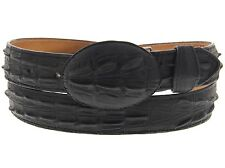 Mens Black Leather Belt Crocodile Alligator Exotic Western Cowboy Vaquero Tail
