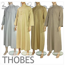 Thobe Jubba Cream Brown Grey Qatari Collar Arab Mens Dress Islamic Clothing