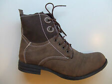 NEW LADIES WOMENS COMBAT MILITARY DARK BROWN LACED SYNTHETIC LEATHER ANKLE BOOTS