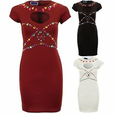 Women's Cap Sleeve Cut out Heart Front Jewels Stretch Bodycon Ladies Short Dress
