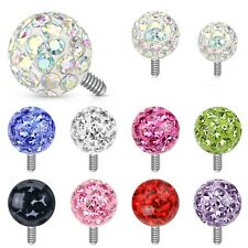 New Surgical Steel Dermal Anchor Top Head with 4mm Epoxy Ferido Crystal Ball 14g