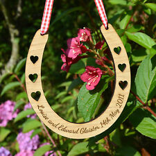 Personalised Wooden Wedding Horseshoe Good Luck Horse Shoe Bridal Gift Lucky