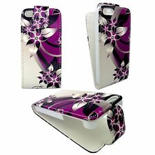 PURPLE AND CREAM FLOWER PRINTED DESIGN FLIP PU LEATHER CASE FOR IPHONE 5 /5S